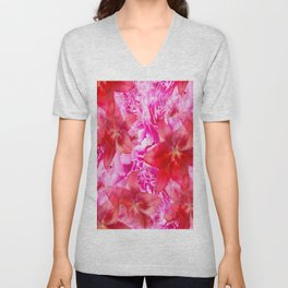 Peony And Lily Flower Bouquet In Vibrant Pink And Red Colors #decor #society6 #buyart Unisex V-Neck