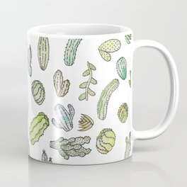 Cute Green Watercolor Paint Summer Cactus Pattern Coffee Mug