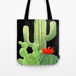Perfect Cactus Bunch on Black Tote Bag