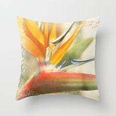 Bird of Paradise - Strelitzea reginae - Tropical Flowers of Hawaii Throw Pillow