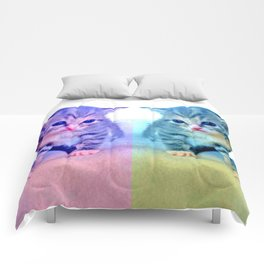 Cute Colorful Cat Couple Comforters