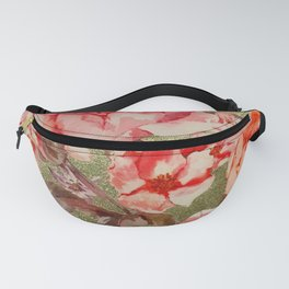 Gold Rose Floral Bloom Raspberry Pink Watercolor Fanny Pack