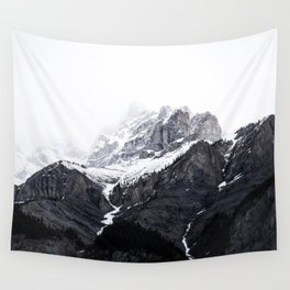 Moody snow capped Mountain Peaks - Nature Photography Wall Tapestry