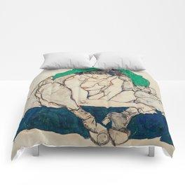 "Egon Schiele ""Crouching Woman with Green Headscarf"" Comforters"