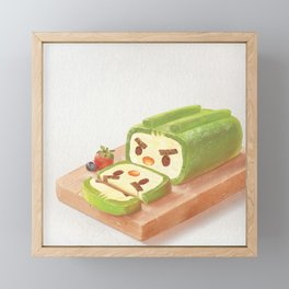 Matcha Cake Roll Framed Mini Art Print