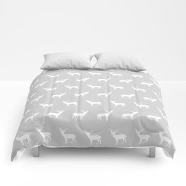Deer pattern minimal nursery basic grey and white camping cabin chalet decor Comforters
