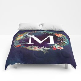 Personalized Monogram Initial Letter M Floral Wreath Artwork Comforters