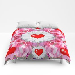 Red Hearts & White Floral Art Comforters