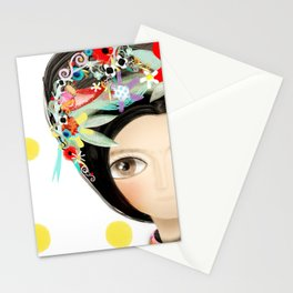 Frida and Ducks Yellow Polka Dots Stationery Cards