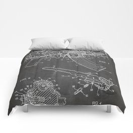 Ak-47 Rifle Patent - Ak-47 Firing Mechanism Art - Black Chalkboard Comforters