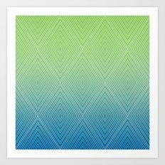 Diamonds (GreenFlashSnorkelBlue Fade) Art Print