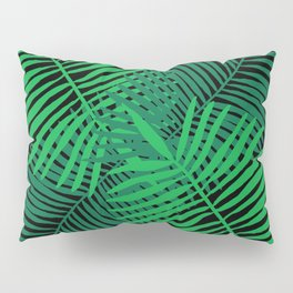 Modern Tropical Palm Leaves Painting black background Pillow Sham
