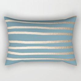 Abstract Drawn Stripes Gold Tropical Ocean Blue Rectangular Pillow