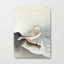 Seagulls at the beach - Vintage Japanese woodblock print Art Metal Print