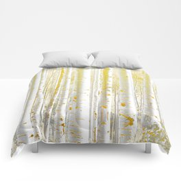Gold Birch Forest Comforters