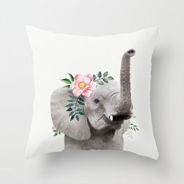 Baby Elephant with Flower Crown Throw Pillow