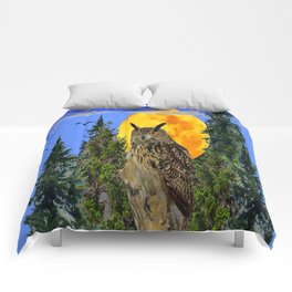 OWL WITH FULL MOON & TREES NATURE BLUE DESIGN Comforters