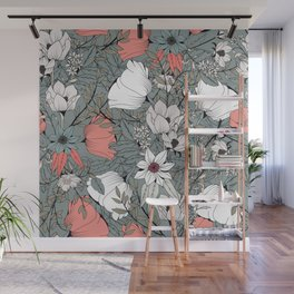 Seamless pattern design with hand drawn flowers and floral elements Wall Mural