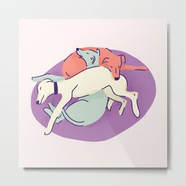 3 Italian Greyhounds Sleeping on a Lilac Pillow - Iggy Doggies Resting Metal Print