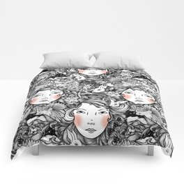 Fantails and Rabbits Ink Design Comforters