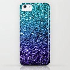 Beautiful Aqua blue Ombre glitter sparkles Slim Case iPhone 5c