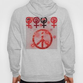 Feminist and Peace Red Hoody