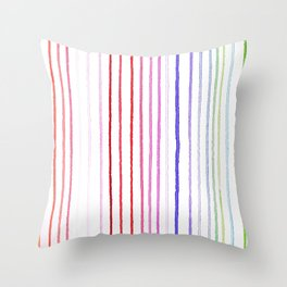 RAINBOW WATERCOLOR LINES Throw Pillow