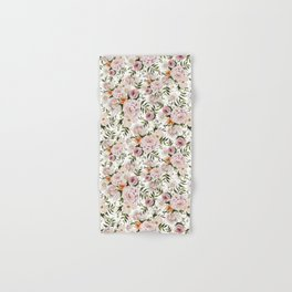 Loose Peonies & Poppies Floral Bouquet Hand & Bath Towel