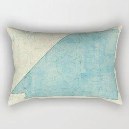Nevada State Map Blue Vintage Rectangular Pillow