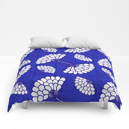 African Floral Motif on Royal Blue Comforters