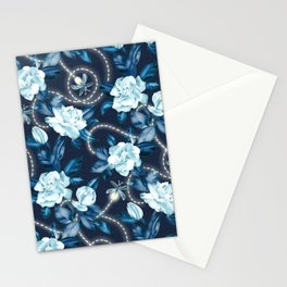 Midnight Sparkles - Gardenias and Fireflies in Sapphire Blue Stationery Cards