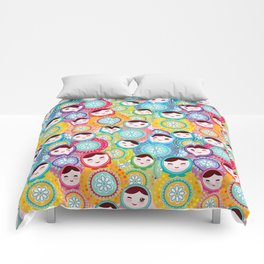Russian dolls matryoshka, pink blue green colors colorful bright pattern Comforters
