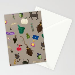 Assorted Witchery Repeating Pattern Tan Stationery Cards