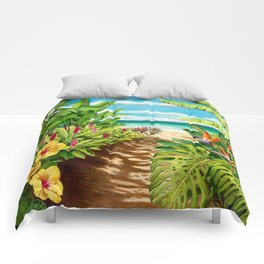 Floral Beach Path Comforters