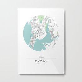 Mumbai India City Map with GPS Coordinates Metal Print