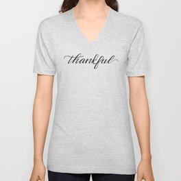 Thankful Calligraphy Unisex V-Neck