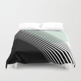 Rising Sun Minimal Japanese Abstract White Black Mint Green Duvet Cover