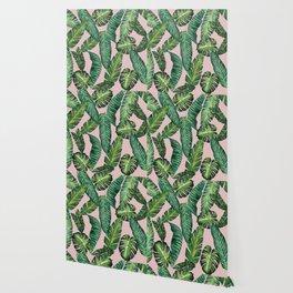 Jungle Leaves, Banana, Monstera II Pink #society6 Wallpaper