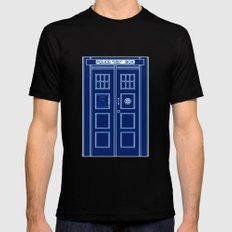 TARDIS Front Door - Doctor Who Black MEDIUM Mens Fitted Tee