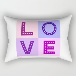 Love Hearts Love Type Pinks Purples Rectangular Pillow