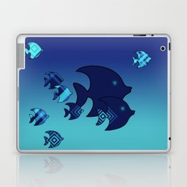 Nine Blue Fish with Patterns Laptop & iPad Skin