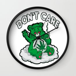 DO NOT CARE BEAR Smoking Bear Hemp Leaf Ganja 420 Wall Clock