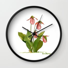 Pink Lady's Slipper Orchid Wall Clock