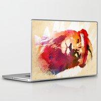 lion Laptop & iPad Skins featuring Gym Lion by Robert Farkas