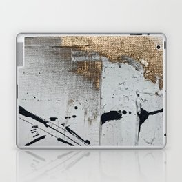 Still: an abstract mixed media piece in black, white, and gold by Alyssa Hamilton Art Laptop & iPad Skin