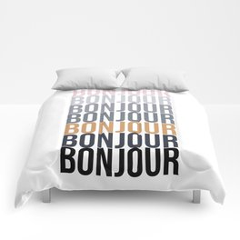 Bonjour in Bold Typography and Fall Colors Comforters