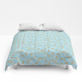 Gold & pearl watercolor leaves on light blu seamless pattern Comforters