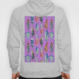 Hand painted pink blue violet bohemian feathers pattern Hoody