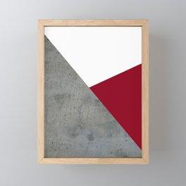 Concrete Burgundy Red White Framed Mini Art Print