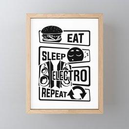 Eat Sleep Electro Repeat - Party Festival Music Framed Mini Art Print